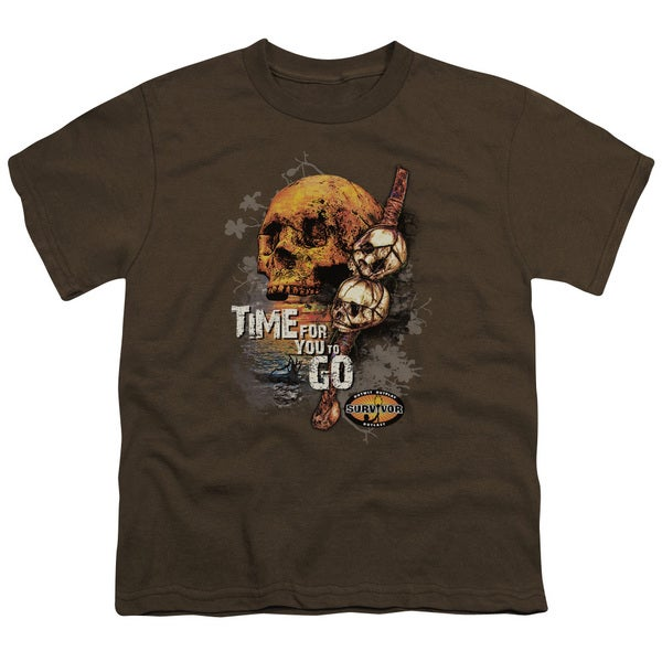 Survivor/Time To Go Short Sleeve Youth 18/1 in Coffee