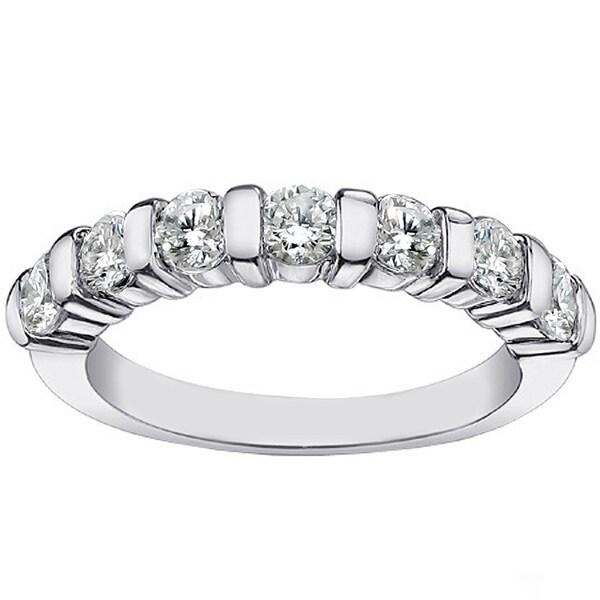 Platinum 1 1/4ct TDW Channel Bar 7-stone Diamond Wedding Ring (G-H, SI1-SI2)