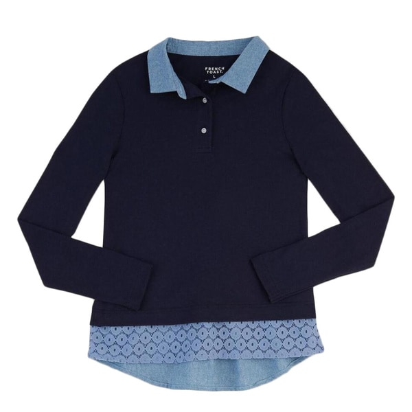 French Toast Girls Blue Cotton/Polyester Jersey Long-sleeve Top