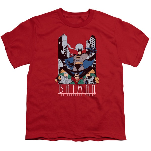Batman The Animated Series/Batman and Robin Short Sleeve Youth 18/1 Red
