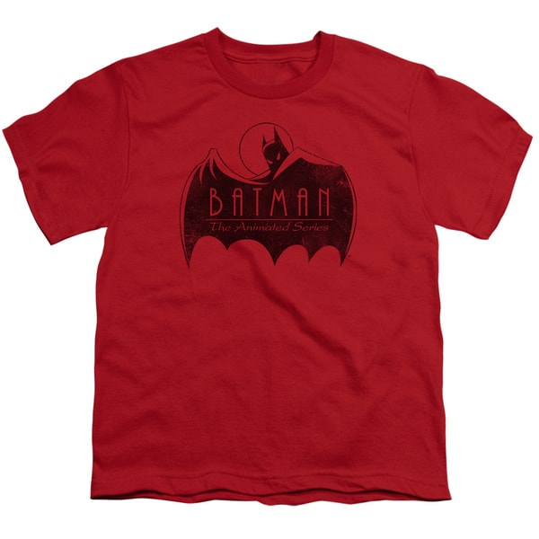 Batman The Animated Series/One Color Logo Short Sleeve Youth 18/1 in Red