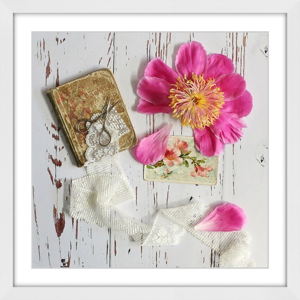 Marmont Hill - 'Peony and Lace' by Sylvia Cook Framed Painting Print
