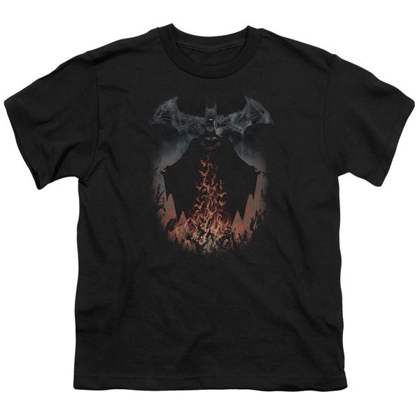 Batman/Smoke & Fire Short Sleeve Youth 18/1 in Black