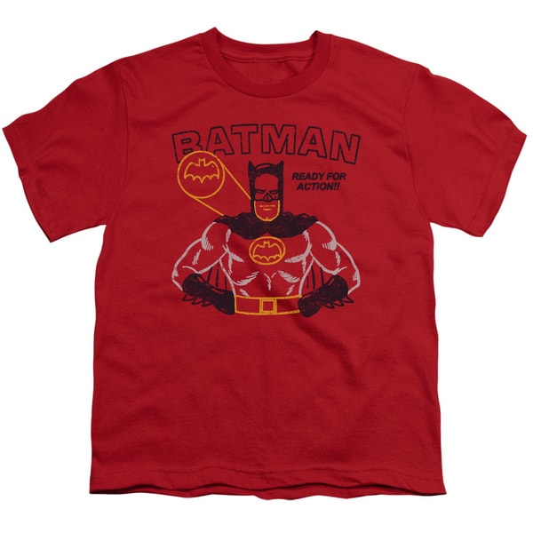 Batman/Ready For Action Short Sleeve Youth 18/1 in Red