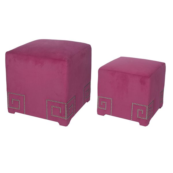 Kenner Grey/Pink Polyester Upholstered Cube Ottomans (Set of 2)