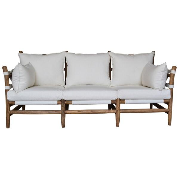 Murdoch Wood and White Cushion Sofa