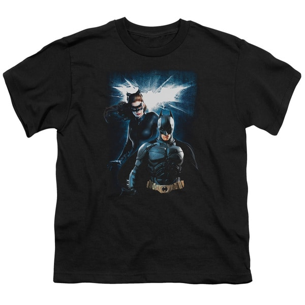Dark Knight Rises/Bat & Cat Short Sleeve Youth 18/1 in Black