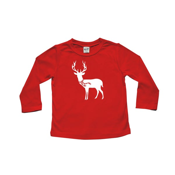 "Rocket Bug Holiday ""Deer with Scarf"" Baby Bodysuit and Toddler T-Shirt"