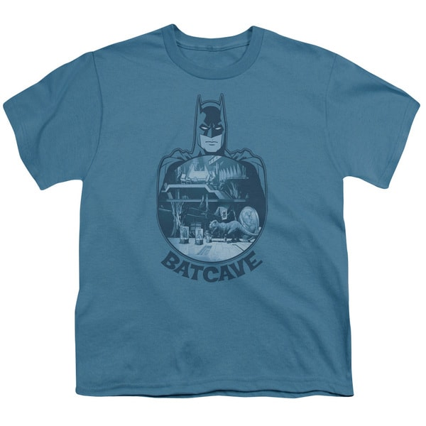 Batman/Batcave Short Sleeve Youth 18/1 in Slate