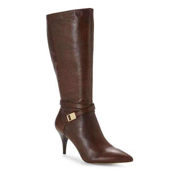 Vince Camuta Ofra Classic Brown Leather Dress Mid Calf Pointed Toe Boots