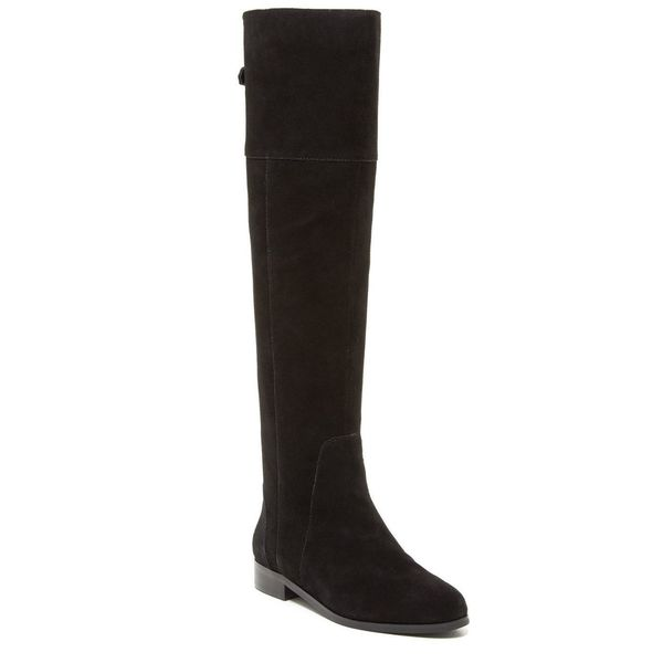 Charles David Reed Gold Back Zipper Detail Over the Knee Flat Boots