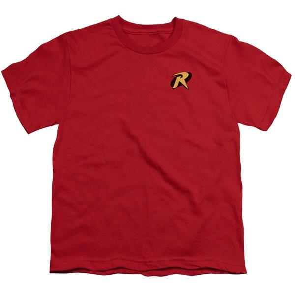 Batman/Robin Logo Short Sleeve Youth 18/1 Red