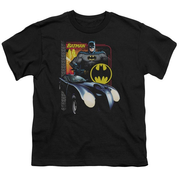 Batman/Bat Racing Short Sleeve Youth 18/1 Black