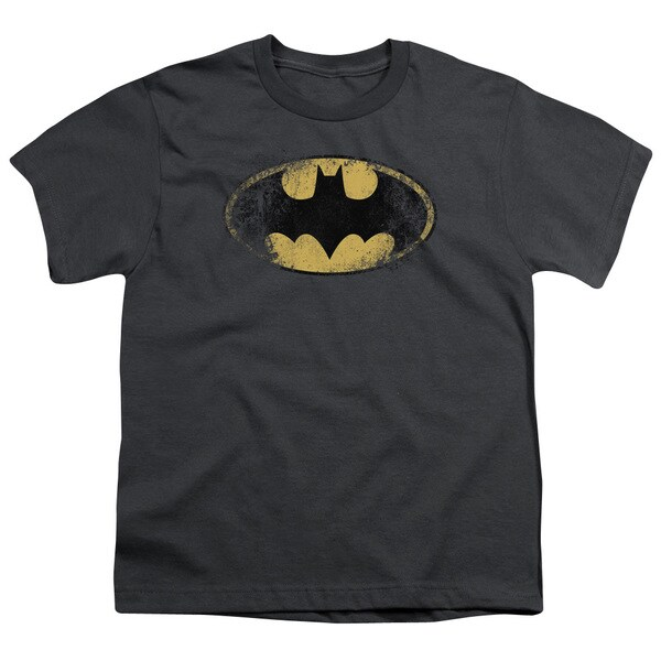 Batman/Destroyed Logo Short Sleeve Youth 18/1 in Charcoal