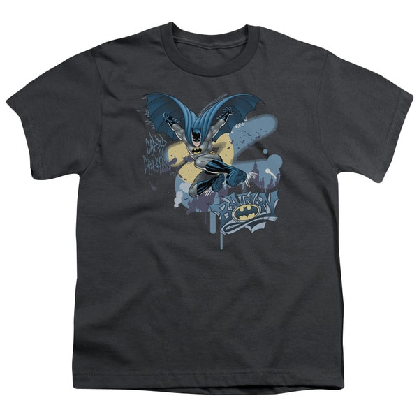 Batman/Into The Night Short Sleeve Youth 18/1 Charcoal