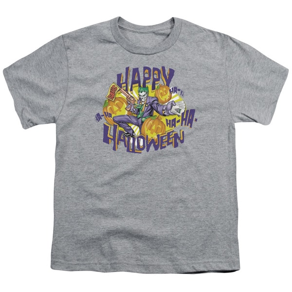 Batman/Ha Ha Halloween Short Sleeve Youth 18/1 in Heather