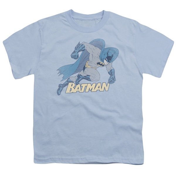 Batman/Running Retro Short Sleeve Youth 18/1 Light Blue