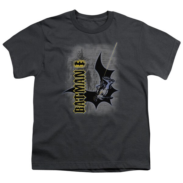 Batman/Swing Into Action Short Sleeve Youth 18/1 Charcoal