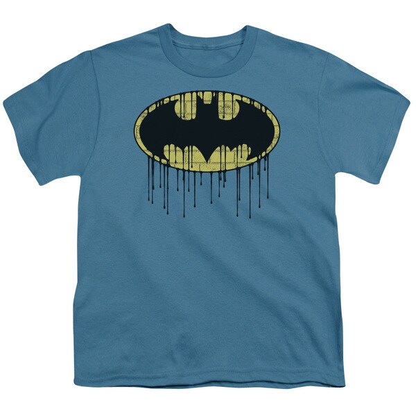 Batman/Dripping Brick Wall Shield Short Sleeve Youth 18/1 Slate