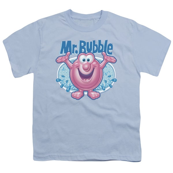Mr Bubble/Overflowing Short Sleeve Youth 18/1 Light Blue