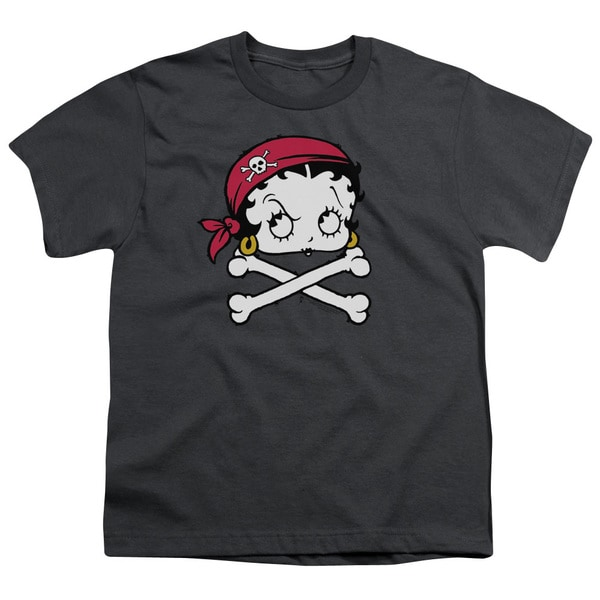 Boop/Pirate Short Sleeve Youth 18/1 in Charcoal