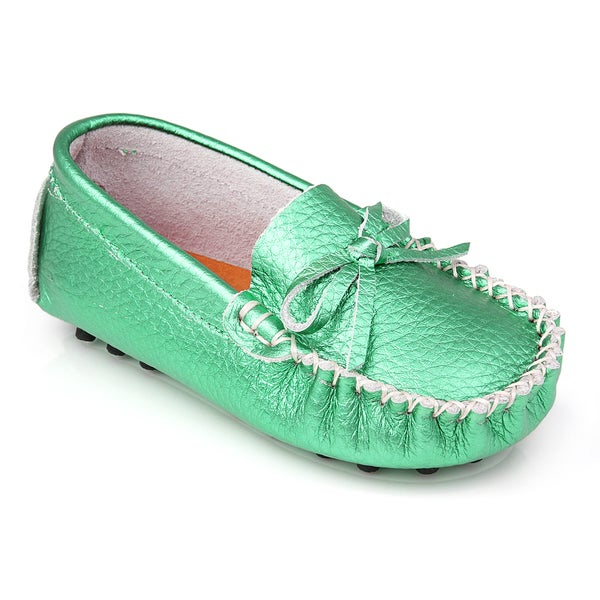 Augusta Baby Children's Metallic Green Genuine Leather Loafers