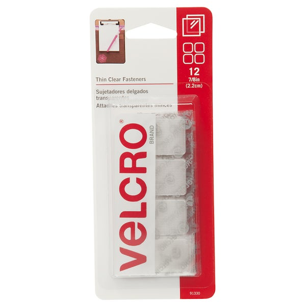 "Velcro 91330 7/8"" Clear Thin Fasteners Squares 12-count"