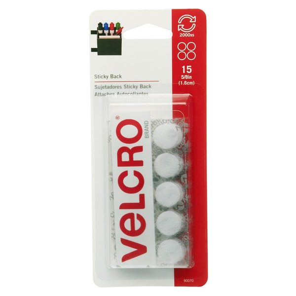 "Velcro 90070 5/8"" White Sticky Back Coins 15-count"