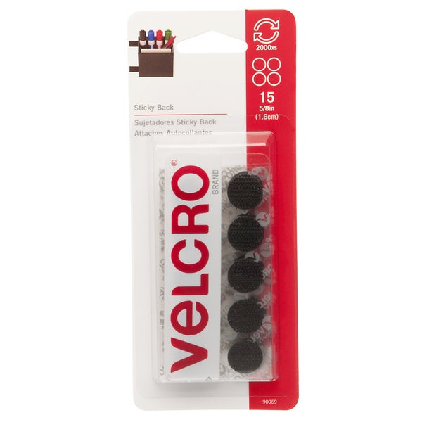 "Velcro 90069 5/8"" Black Sticky Back Coins 15-count"