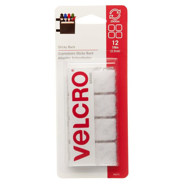 "Velcro 90073 7/8"" White Sticky Back Squares 12-count"