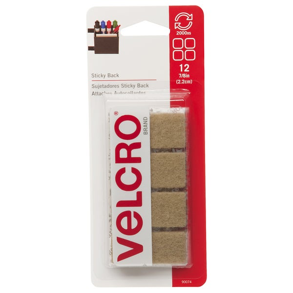 "Velcro 90074 7/8"" Beige Sticky Back Squares 12-count"