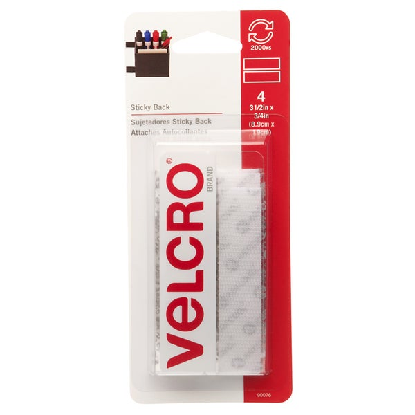 "Velcro 90076 3/4"" X 3-1/2"" White Sticky Back Fastener Strips 4-count"