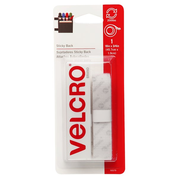 "Velcro 90079 3/4"" X 18"" White Sticky Back Tape"