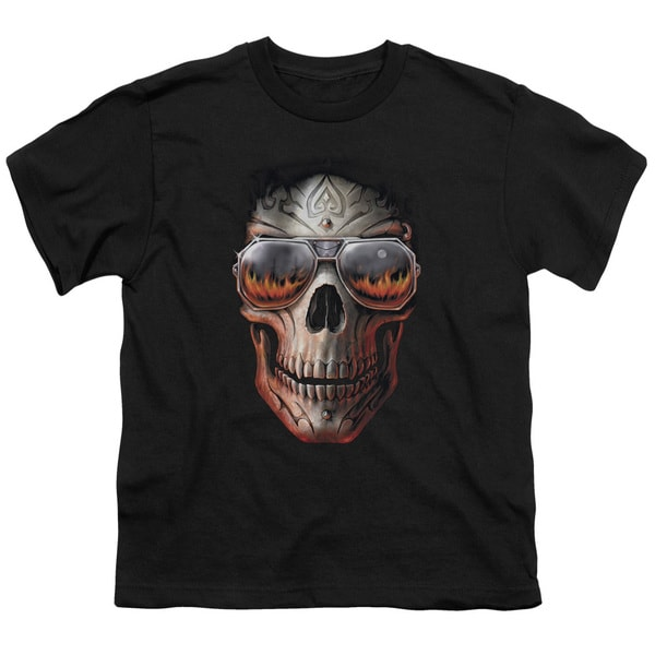 Anne Stokes/Hellfire Short Sleeve Youth 18/1 in Black