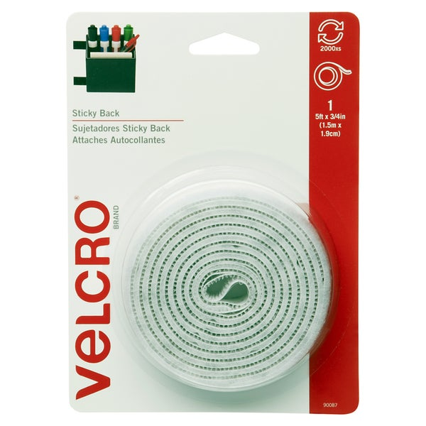"Velcro 90087 3/4"" X 5' White Sticky Back Tape"