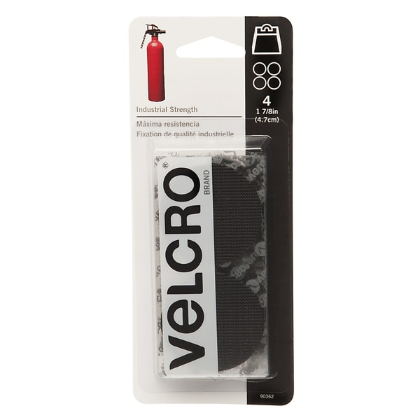 "Velcro 90362 1-7/8"" Black Industrial Strength Coins 4-count"