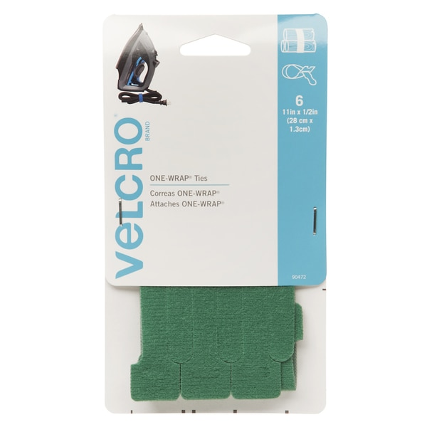 "Velcro 90472 1/2"" X 11"" Green ONE-WRAP Ties 6-count"