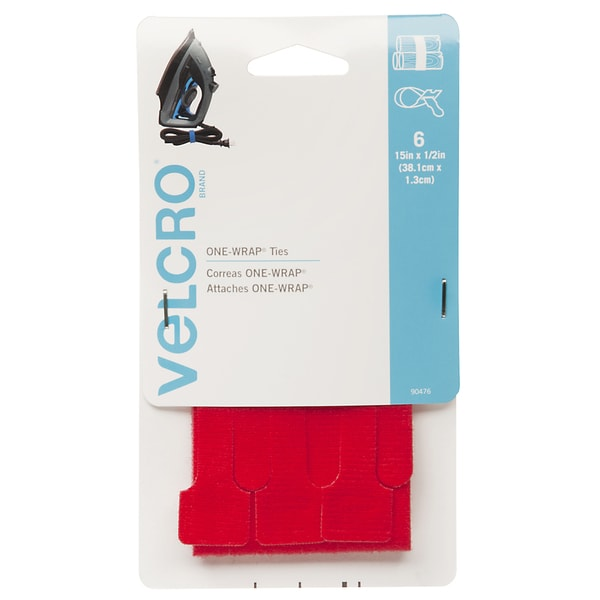 "Velcro 90476 1/2"" X 15"" Red ONE-WRAP Ties 6-count"
