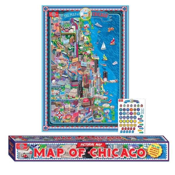 Map of Chicago Laminated Poster with Stickers