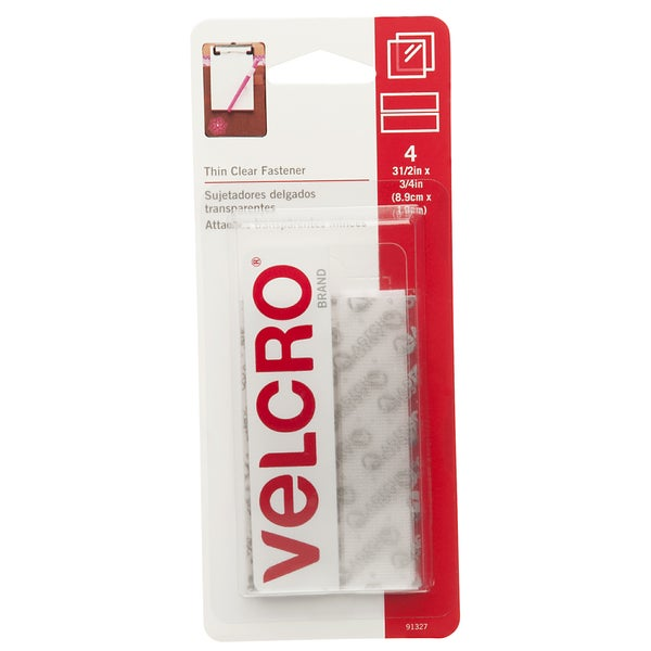 "Velcro 91327 3/4"" X 3-1/2"" Clear Thin Fasteners Strips 4-count"