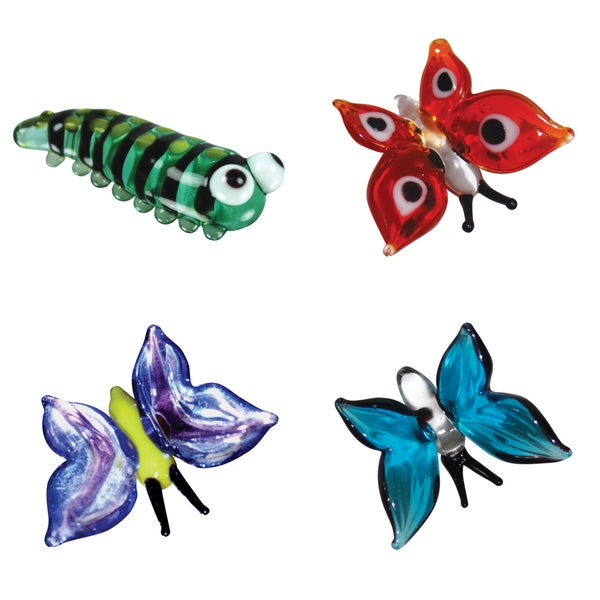 Looking Glass 4-Pack Caterpillar and 3 Butterflies 21161527