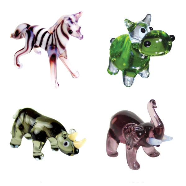 Looking Glass 4-Pack Zebra, Hippo, Rhino, Elephant 21161528