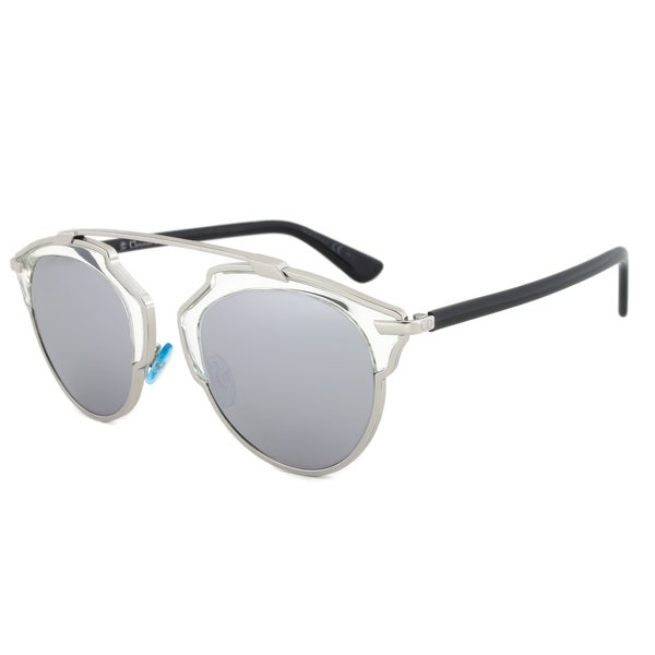 Dior SOREAL APPDC Sunglasses Silver/Crystal Frame Silver Mirror Lens