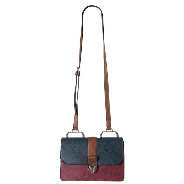 Diophy Multicolored Faux-leather Push-lock Closure Crossbody Handbag