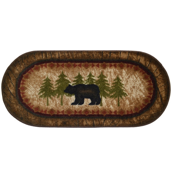 Birch Bear Brown Nylon 20-inch x 44-inch Kitchen Accent Non-slip Lodge Cabin Mat