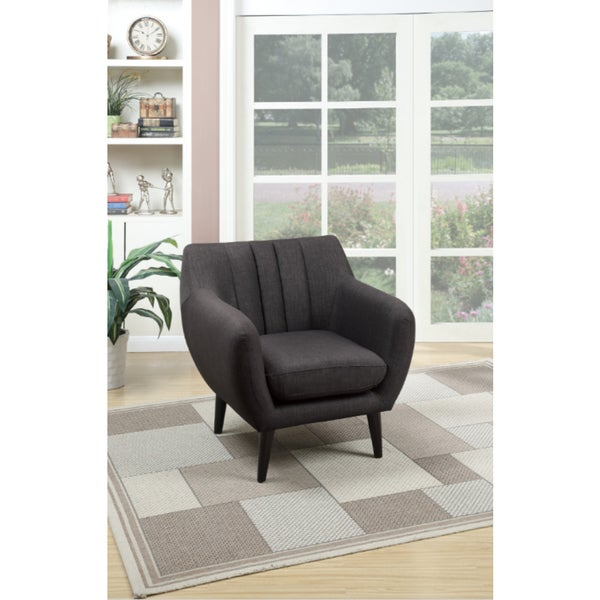 Ash Black/Beige Poly Synthetic/Pine Accent Arm Chair