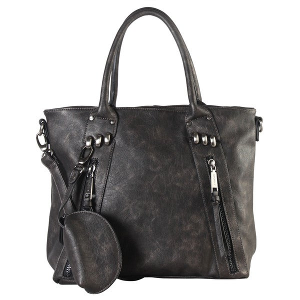 Diophy Black Faux-leather Front-zipper Large Tote Bag