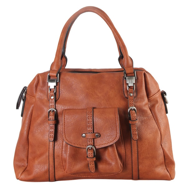 Women's Diophy Blue/Black/Brown Faux Leather Front-pocket Zipper-closure Tote Handbag