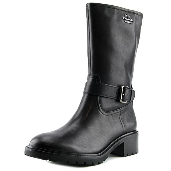 Coach Women's Genie Black Leather Mid-calf Boots