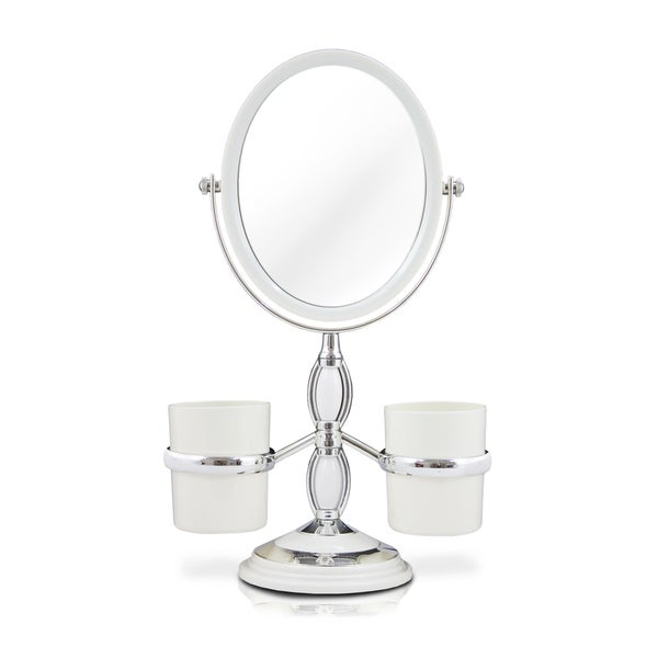 Jacki Design Dual-sided Vanity Mirror with Brush Holders